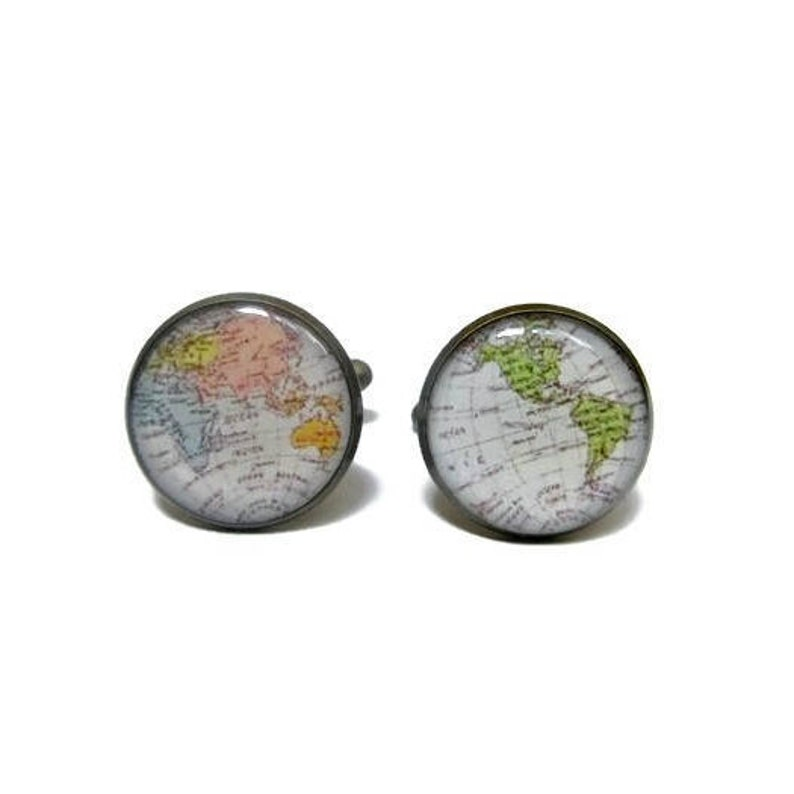 World MAP CUFFLINKS  Intercontinental Map Cuff links  image 0