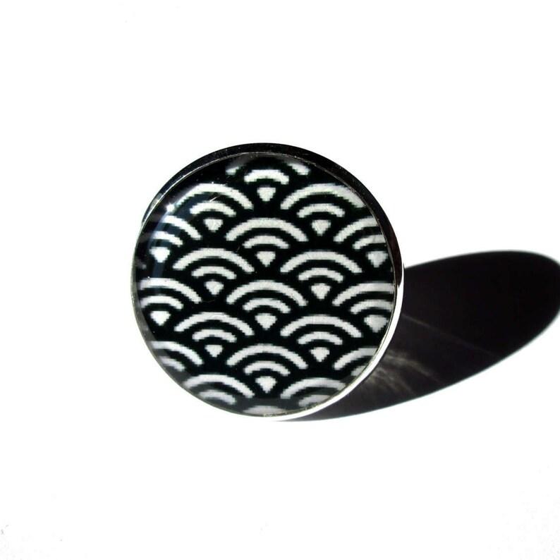 64ab12f302 BAGUE MOTIF JAPONAIS vagues noires et blanches vague | Etsy