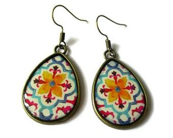 Teardrop Earrings, drop earrings orange flower Pattern, BOHO Earrings, Hippie Earrings, Indian Pattern, Ethnic Earring, Tribal Earring, clip
