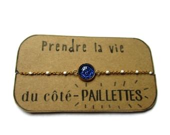 Blue Sparkling Bracelet - Glitter Bracelet - Sparkly Glitter Bracelet - Stainless Steel Charm Bracelet - Glitter Jewelry