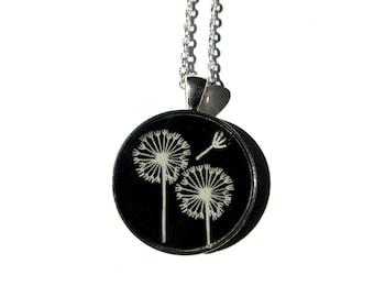 DANDELION NECKLACE - dandelion pendant - Dandelion jewelry - white dandelion earrings - flower - flower jewelry - white dandelion wish