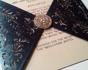 Black Pearlescent Laser Cut Wedding Invitation with Diamante Seal