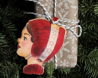 Wooden gift tree pendant red cap
