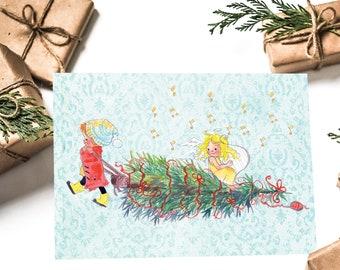 Postcard Christmas transport