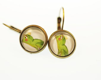 Princess and the frog earrings 12 mm brass colors