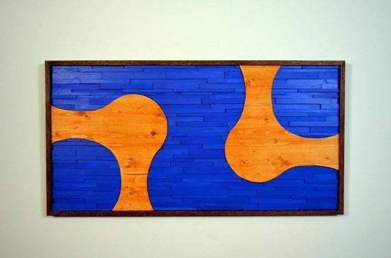 wood wall art TWO TO TANGO blue orange modern | Etsy