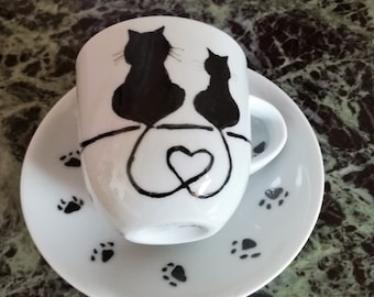 Hand painted coffee cups with cats