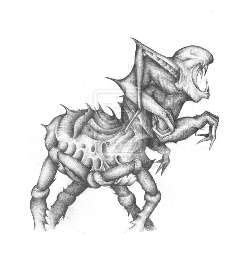 Alta Calidad De Dibujo A Lápiz Monstruo Alien Firmado Etsy