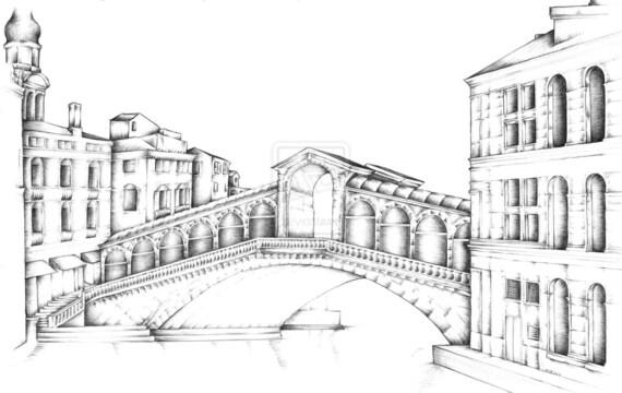 Ponte Di Rialto Di Venezia Arte Matita Disegno Alta Qualità Etsy