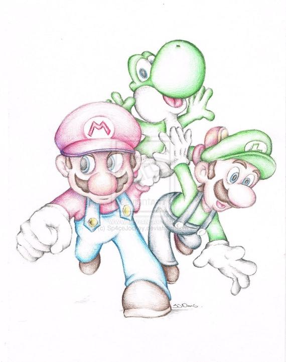 Super Mario Brothers Luigi Yoshi Nintendo Cartoon Art Pencil Etsy