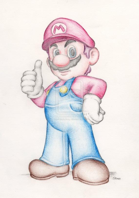 Super Mario Brothers Bros Nintendo Art Couleur Dessin Au Crayon Signé Affiche Format A4