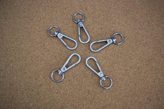 """1/"""" Split Key Ring ~ Nickel SILVER 50 Heavy Duty 1-7//8/"""" Lobster Scissor Clasps"""