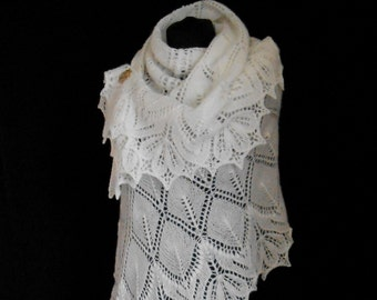 Hand Knitted Lace Wedding Shawl. Made to Order.