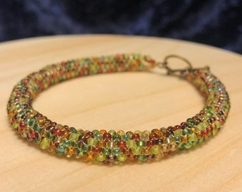Autumn Brown, Green, & Red Bracelet w/ Toggle Clasp