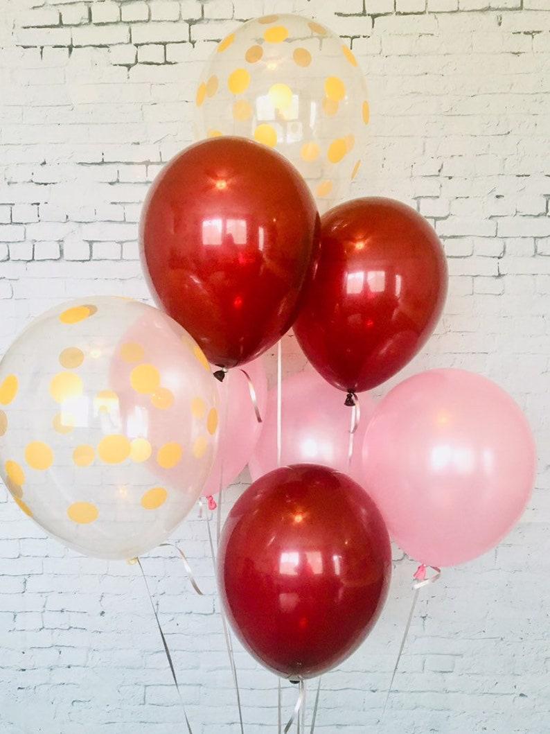 Pearl Pink and printed clear confetti balloon bundle 11 Latex Balloon Set of 8 Sparkling Burgundy Gender Reveal Party Birthday decor