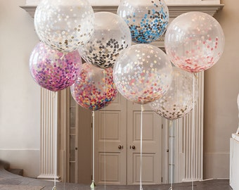 """36"""" Giant Round Balloon with handmade tissue paper confetti and tassel garland tail (EACH)"""