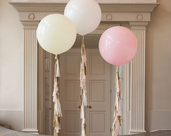 """36"""" Giant Jumbo Round Balloon with tassel garland tail, Wedding Decoration, Bridal shower, Bachelorette party"""