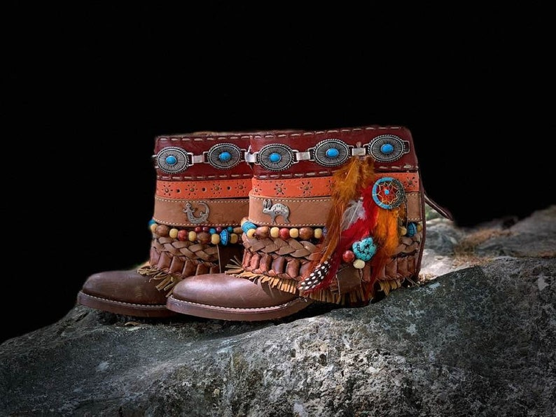 Custom Order for Tribal Upcycled Boots SALE Indigenous Native American  choose your Size /& Colors  Embellishment level similar to photos