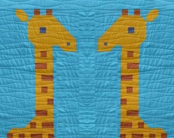 Giraffe Quilt Block Pattern, PDF, Instant Download, modern patchwork, jungle, African, animal, cute