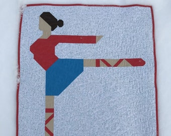 Ballet Dancer Quilt for sale Ready to ship blanket bedding patchwork girl nursery gift baby shower dance fun