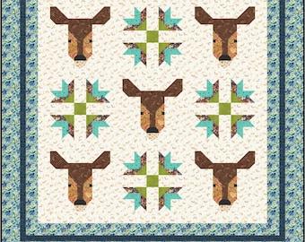 "Deer and Goose Tracks Economy 10"" Block Quilt Pattern, PDF, Instant Download, modern patchwork, woods woodland forest animal buck doe"