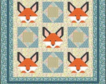 "Fox Birches and Economy 10"" Block Quilt Pattern, PDF, Instant Download, modern patchwork, woods woodland forest animal orange"
