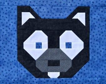 "Husky Dog 12"" Quilt BLOCK Pattern, PDF, Instant Download, modern patchwork, wolf, pet, animal, cute"
