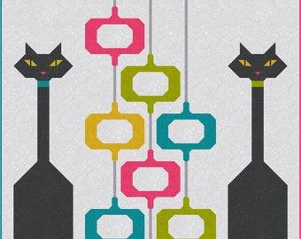 POD Cats mid century modern Quilt Pattern, PDF, Instant Download, modern patchwork, retro vintage inspired