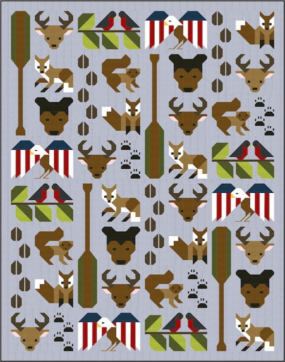 woodland MINI Forest Friends Quilt block Pattern modern patchwork deer PDF Instant Download hunter animal lover fox forest animals