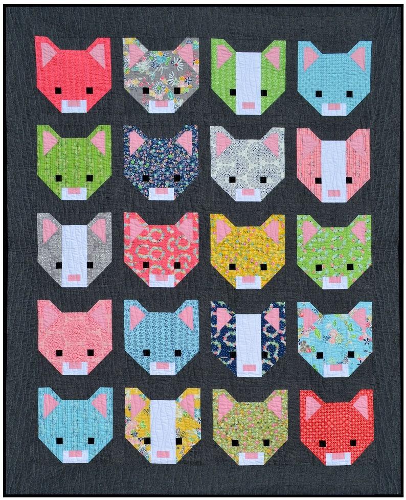 Smitten Kitten Quilt Pattern PDF Instant Download modern image 0