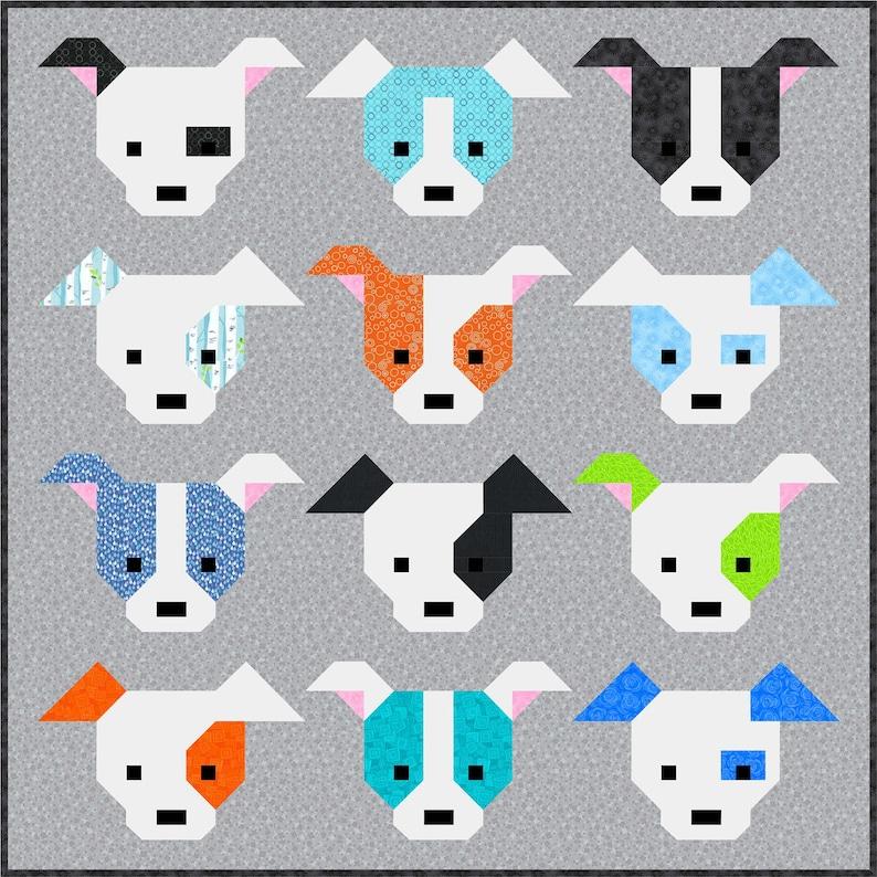 Dog Gone Cute Quilt Pattern PDF Instant Download modern image 0