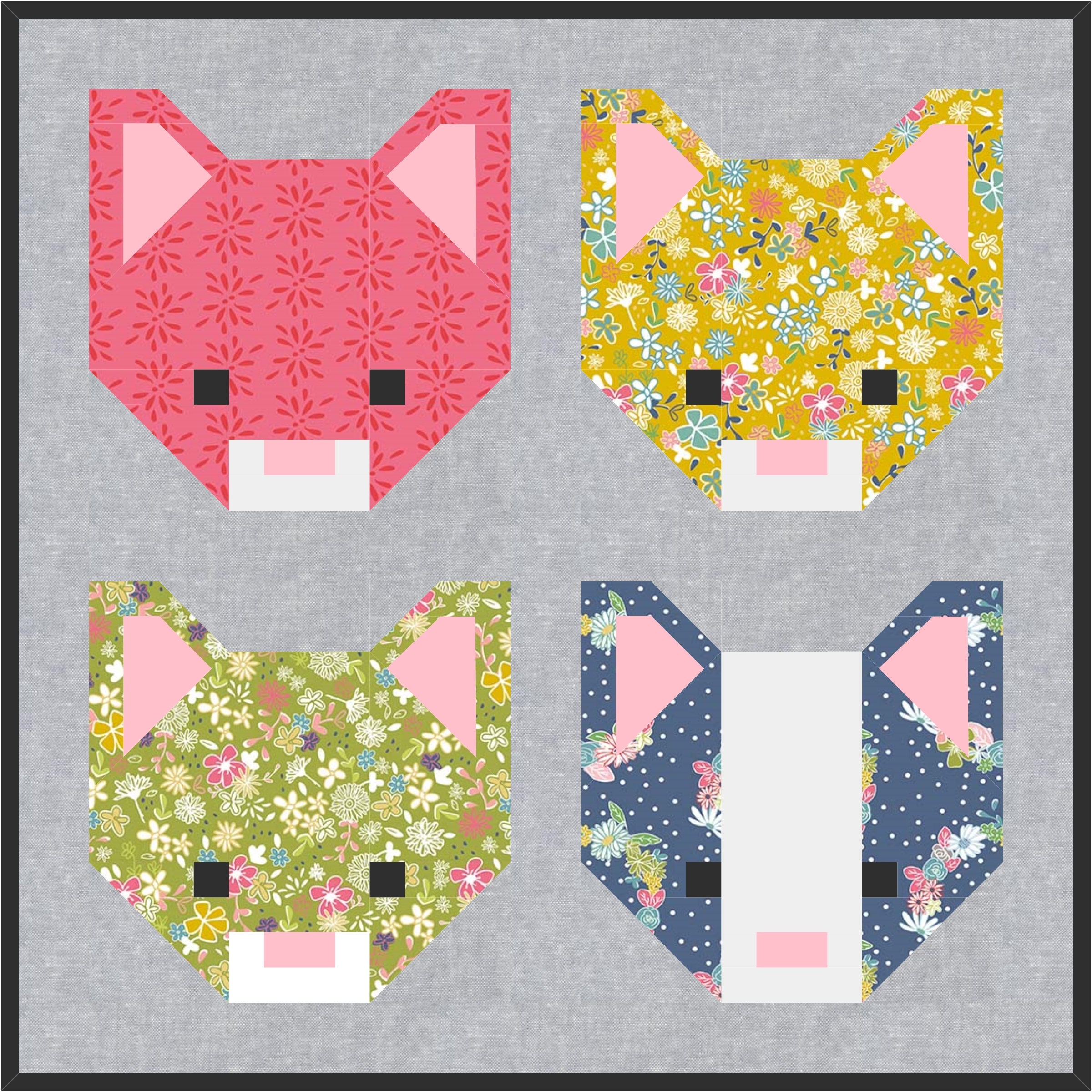 Kitten Cat Quilt Block Pattern Pdf Instant Download Modern