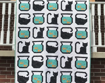 Cat Fish Quilt for sale Ready to ship blanket bedding patchwork water pet goldfish bowl bedding blanket throw gift