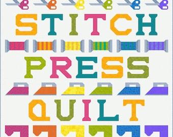CUT Quilt Pattern, PDF, Instant Download, modern patchwork,quilter's quilt, cut stitch press quilt repeat, rainbow