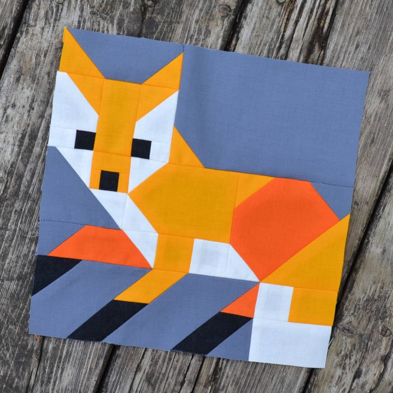 Fox 1 Quilt BLOCK Pattern PDF Instant Download 8 inch and image 1