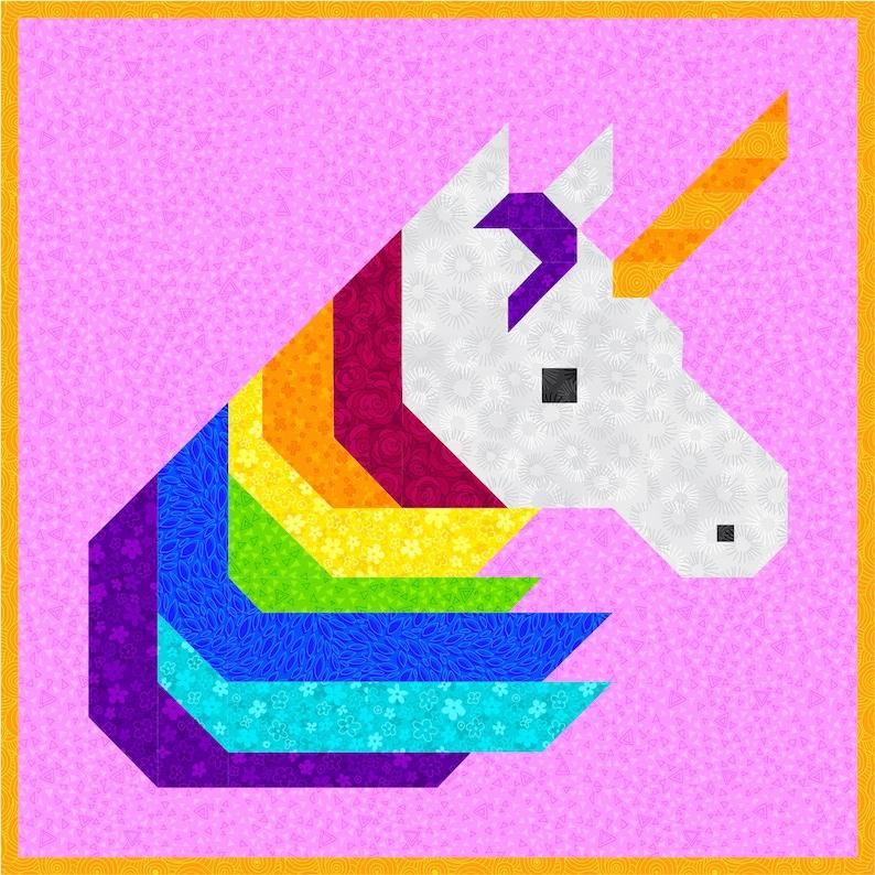 Rainbow Unicorn Quilt Pattern PDF Instant Download modern image 0