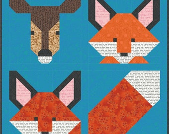 """F is for FOX and D is for Deer - Back 2 School Quilt Pattern pdf Instant Download DIY modern patchwork blanket 5"""" 10"""" 20"""" block easy simple"""