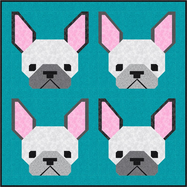 French Bulldog Dog Quilt BLOCK Pattern PDF Instant Download image 0