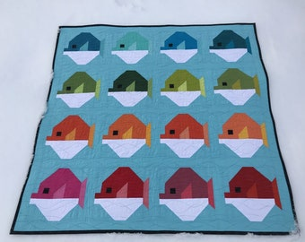 Puffer Fish SOLIDS Animal Baby Lap Quilt Ready to ship blanket bedding nursery shower modern patchwork unisex gender neutral water fishing