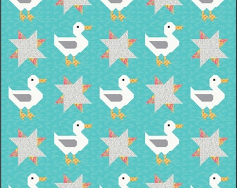 Duck and Duck Tracks modern Quilt Pattern, PDF, Instant Download, modern patchwork, water pond traditional goose