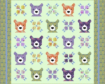 Bear and Bear Paws Quilt Pattern, PDF, Instant Download, modern patchwork, woods woodland forest animal teddy