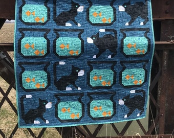 Cat Fish LAP Animal Quilt Ready to ship blanket bedding goldfish bowl pet kitten nursery shower modern patchwork unisex gender neutral