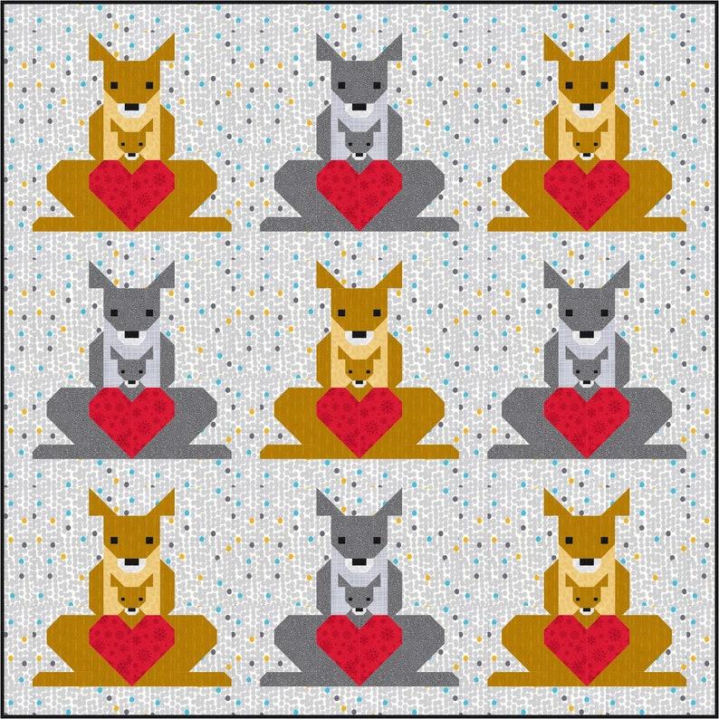 Kangaroo & Joey 2 Quilt Pattern PDF Instant Download modern image 1