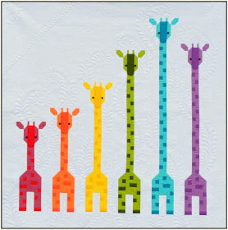 Giraffes in a Row Quilt Pattern PDF Instant Download modern image 0