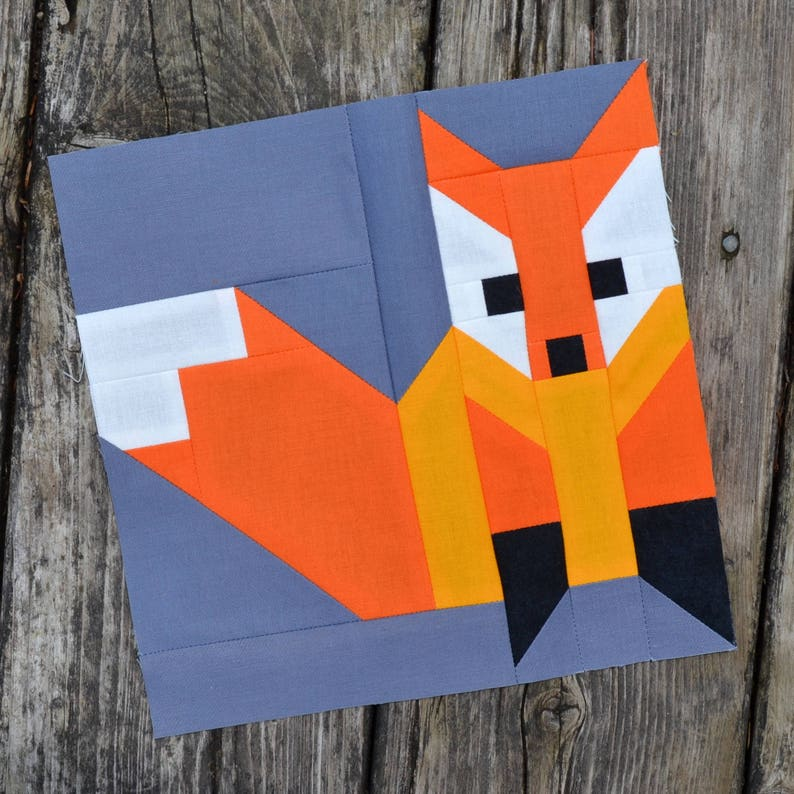 Fox 2 Quilt BLOCK Pattern PDF Instant Download 8 inch and image 1