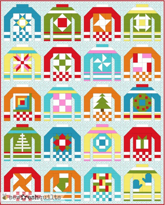 Ugly Christmas Sweater Pattern.Ugly Christmas Sweaters Quilt Pattern Pdf Instant Download Modern Patchwork 6 Quilt Block Within 12 Quilt Block Lap Throw Twin Quilt