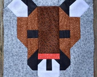 Cougar Quilt Block Pattern, PDF, Instant Download, modern patchwork, animal, forest, woodland, big cat, puma, mountain lion