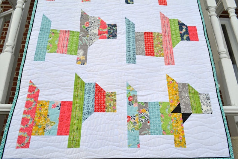 to be mailed Scrappy Rainbow Scottie Dog PAPER Quilt Pattern modern patchwork pet scotty pieced animal