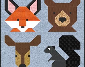 "F is for FOREST Fox Deer Bear Squirrel animal - Back 2 School Quilt Pattern pdf Instant Download DIY modern patchwork 5"" 10"" 20"" block easy"