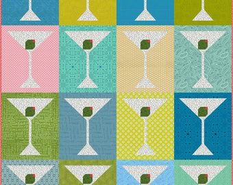 MaRTiNi mid century modern Quilt Pattern, PDF, Instant Download, patchwork retro vintage inspired drink glass cocktail
